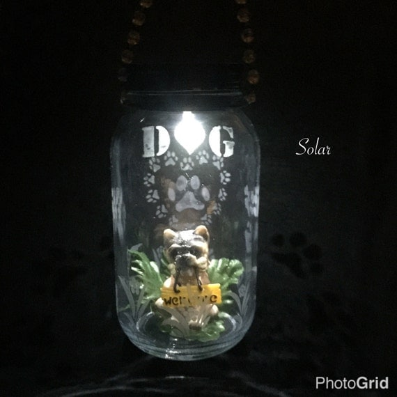 Etched Dog Solar Light Hanging Lantern Pet Memorial