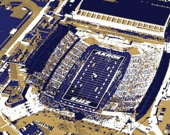 University of Akron InfoCision Stadium–Summa Field Print, Canvas Print, Zips, Man Cave, Father's Day, Graduation, Groomsman, Wall Art