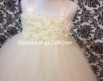 Couture Tutu Dress, Ivory Flower Girl Tutu Dress, Ivory Flower Tutu Dress, Ivory Tutu Dress, Flower Girl Dress Ivory, Birthday Tutu Dress