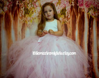 Pink Tutu, Blush Long Tutu, Flower Girl Tutu, Blush Pink Long Tutu, Pink Tutu Skirt, Children's Tutu, Soft Pink Flower Girl Tutu, Tutu Skirt