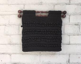 Vintage 1970s black macrame handbag / wood handled woven market tote bag / jute top handled boho purse