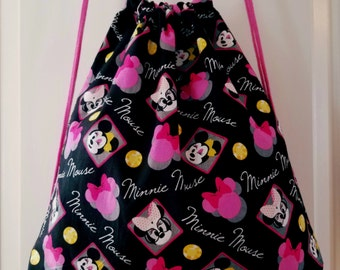 Minnie Mouse Drawstring Backpack, Disney Backpack, Book Backpack, Women's Bag, Teen's Bag, Kid's Bag