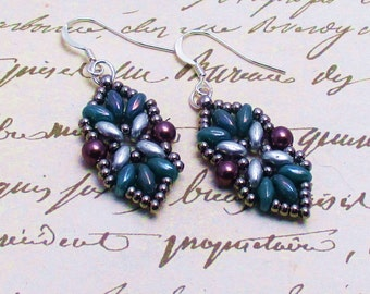 Earrings, Turquoise and Silver Beaded Dangle