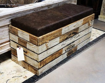 Beautiful Storage Chest / Bench With A Real Leather Cushion