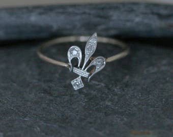 Art Deco Diamond Fleur De Lis Ring Conversion Ring - JL792