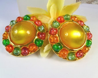RARE 1980s CHANEL Paris OVERSIZE 5cm Golden Yellow High Domed Vintage Earrings -Season 25