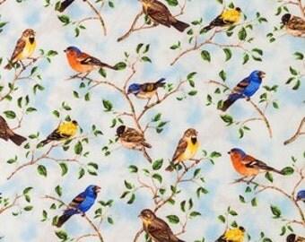 Birds Fabric 100% Cotton Quilting Apparel Crafts Home decor