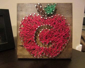 Apple String Art with Initial