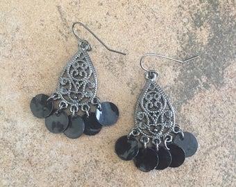 Charcoal Silver Metal w/Small Black Shell Dangling Beaded Earrings