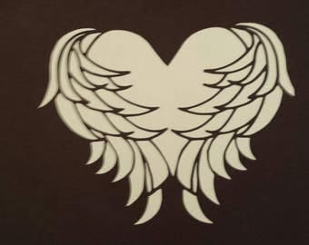 Heart in angel wings Car Decal