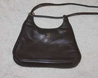 Vintage A Etienne Aigner Authentic Purse, Long Strap, Made of Leather, Maroon, Small Purse, Brass Fittings, Adjustable Strap, Fashion