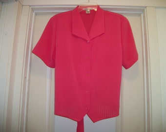 Retro 80s PRETTY SALMON Colored Semi Textured FEMME Blouse, w Shoulder Pads & a Back Tie, Lg