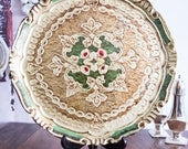 Vintage florentine tray~Gold green italian vintage tray~Handpainted round italian gold serving tray~home decor vintage tray~ReDesignsbyv