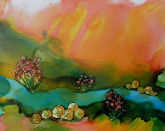 Painting Ink 5x7 landscape original alcohol ink painting with orange sky # 234