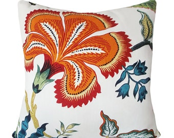 Schumacher Hothouse Flowers Spark Decorative Pillow Cover - Celerie Kemble - Solid Linen Back - 12x20, 14x18, 14x24, 18x18, 20x20, 22x22