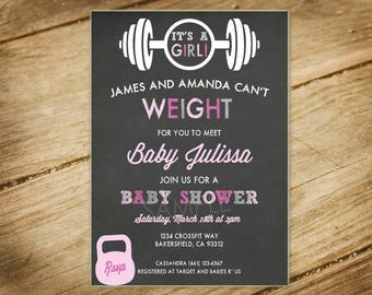 Crossfit Themed / Workout / Weights / Girl Baby Shower Invitation