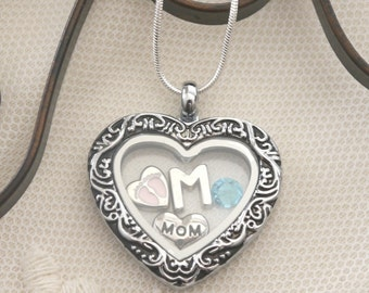 New Mom Necklace, New Mom Heart Locket, New Mother Gifts, Baby Feet Locket, Letter Birthstone, New Mommy Gifts, New Mom Baby Feet Gifts