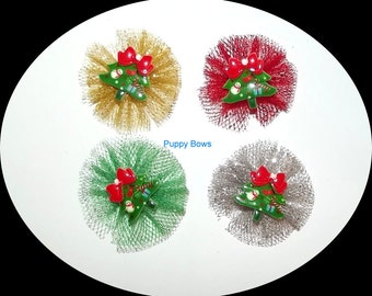 Puppy Bows ~ CHRISTMAS ballerina tulle TREE round pet hair bow gold silver red green