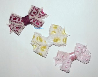 """Puppy Bows ~3 lovely lace bow 2"""" dog hair pet comb clip barrette pink yellow ~Usa seller"""