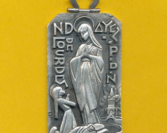 Large Fernand Py vintage French silver alloy religious medal Our Lady of Lourdes - St Bernadette Soubirous (ref 0836)