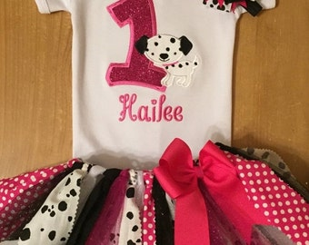 Pink and Black Dalmation Birthday Tutu Outfit