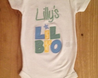 Blue, Green, and Yellow Lil Bro Shirt or Baby Bodysuit
