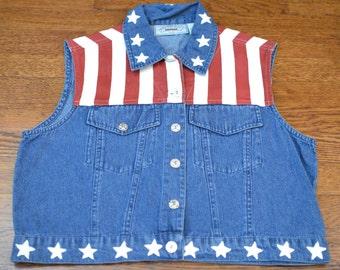 90s Jean American Flag Button-Up Denim Vest - U.S.A. Pride - Women's Small
