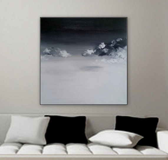 "Large black and white canvas painting clouds on the horizon by Marcy Chapman 36"" x 36"" gallery wrapped on wood frame ready to hang wall art"