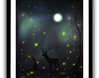 Stag & Hare, Fireflies, Art Print, Painting, Love, Nature, Moonlight, Wall Art, Home decor, Fine Art print A4