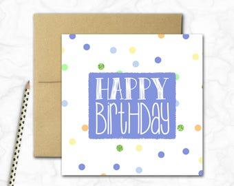 Birthday Card {BLUE SPOTS}
