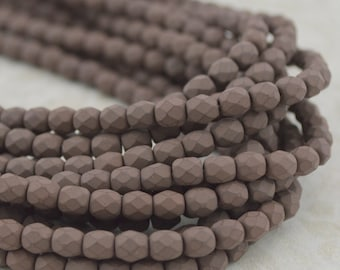 Faceted Round SATURATED BROWN Czech Glass Beads 4mm Qty 50 Gray Brown Velvety Saturated Finish, Firepolished Small Czech Beads