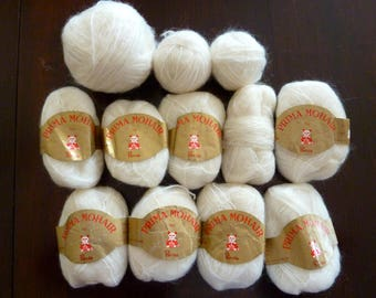Lot 14 skeins Prima Mohair by Panda Yarn - 70% Mohair - Eggshell Color - Made in Italy