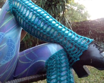 Witch cobweb leg flares teal leg warmers lace