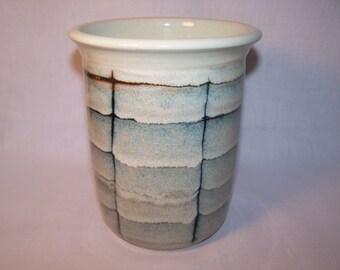 Utensil holder. Stoneware. Height 17cm.  Width 15cm. Glaze from Black & white range. stock item