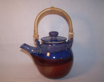 Teapot, (large) Stoneware,  4-5 Cup capacity Glazes Blues & Red. One-off