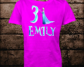 Frozen Birthday Shirt-Girl's Personalized Birthday Shirt-Custom Birthday Shirt-Girl Birthday-Birthday Iron On Transfer-Print At Home-DIY
