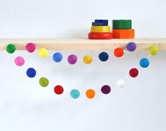 Colorful Pom Pom Garland SMALL - Gender Neutral Garland - Gender Neutral Nursery - Birthday Pom Pom Garland - Felt Ball Garland