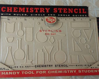 1950's Vintage plastic stencils chemistry set, chemist, science, sterling Chemistry stencil clear chemistry flask, bubbles, see through