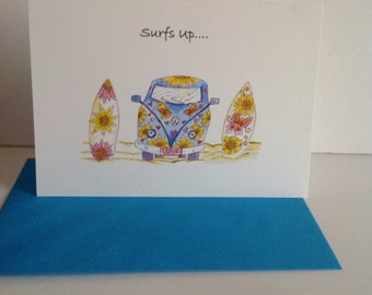 Surf board and Combi Card,Camper Van with Zen Surfboards Greeting Card, Surfs Up Card, Surfing Card, Beach Card.