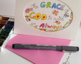 Christian Card,Words of Encouragement Cards, The Grace of God is with us Always.