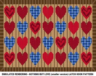 Nothing But Love (smaller version) Latch Hook Rug Pattern - PDF Instant Download