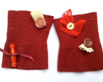 Fingerless fidget cuffs. Decorated dark red felted twiddle mitts muffs pulse warmers for sensory stimulation. Handmade from wool sweater.
