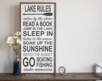 lake rules lake rules sign lake house decor subway sign rustic lake