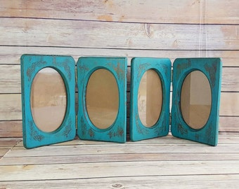 Wood Teal Frames | Set of 4 Frames | Teal Farmhouse Decor | Up Cycled Gift |  Eco Friendly Home Decor |  READY TO SHIP