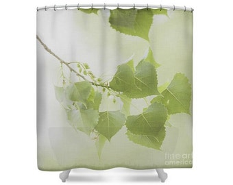 Dreamy Leaves Shower Curtain, Branches, Botanical Bathroom, Nature Photography, Spring, Summer, green, cream white, off white  -NO. 2900T
