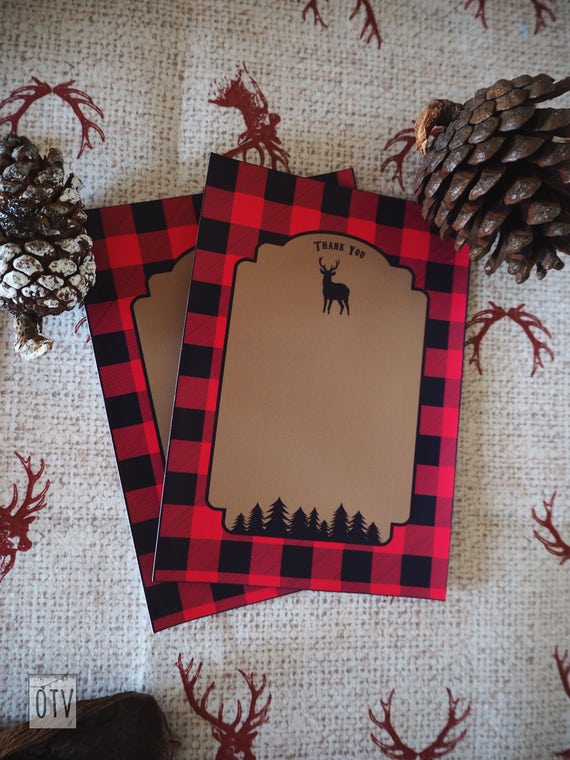 New** Lumberjack Rustic Buffalo Check Thank You Notes PRINTABLE Pdf