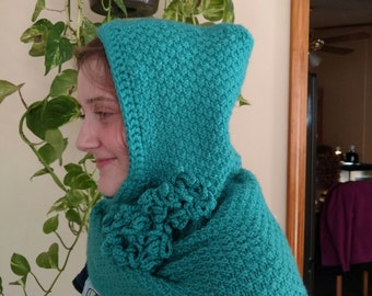 Hooded cowl with flowers - knitting/crochet pattern