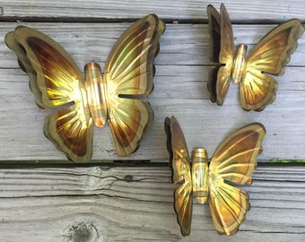 CIJ Butterflies Metal Wall Art Set of 3 1960s-1970s Retro 3 D