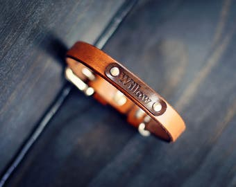 Personalized Leather Small Dog Collar, Custom Leather Tiny Dog Collar, Handmade personalized, Aztec tribal, FREE Name