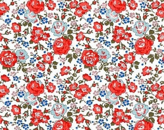 Liberty of London Tana Lawn Felecite in Red and Blue -- 1/4 Yard